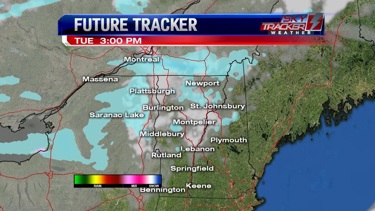 Spotty snow showers Tuesday afternoon.
