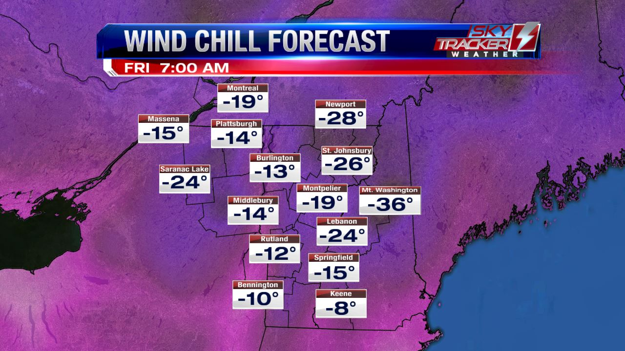 Wind Chill Forecast 7am Friday February 10 2017