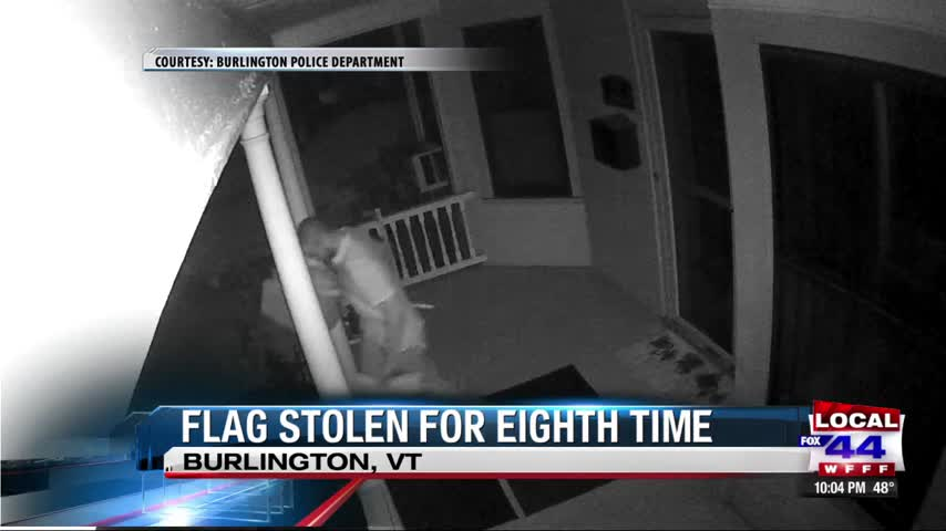 American flag stolen from Burlington porch for 8th time