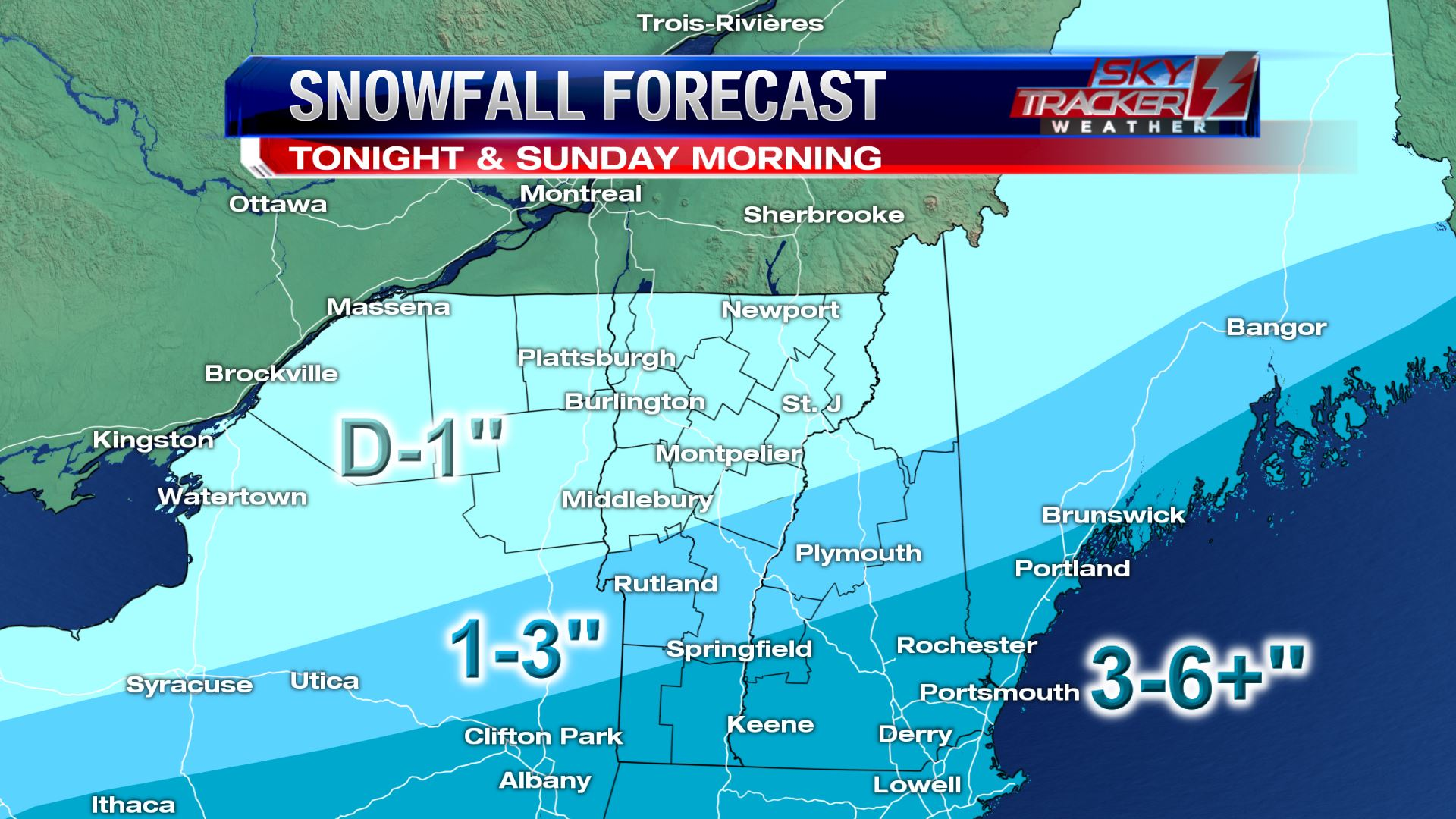 Snowfall expected by Sunday morning.