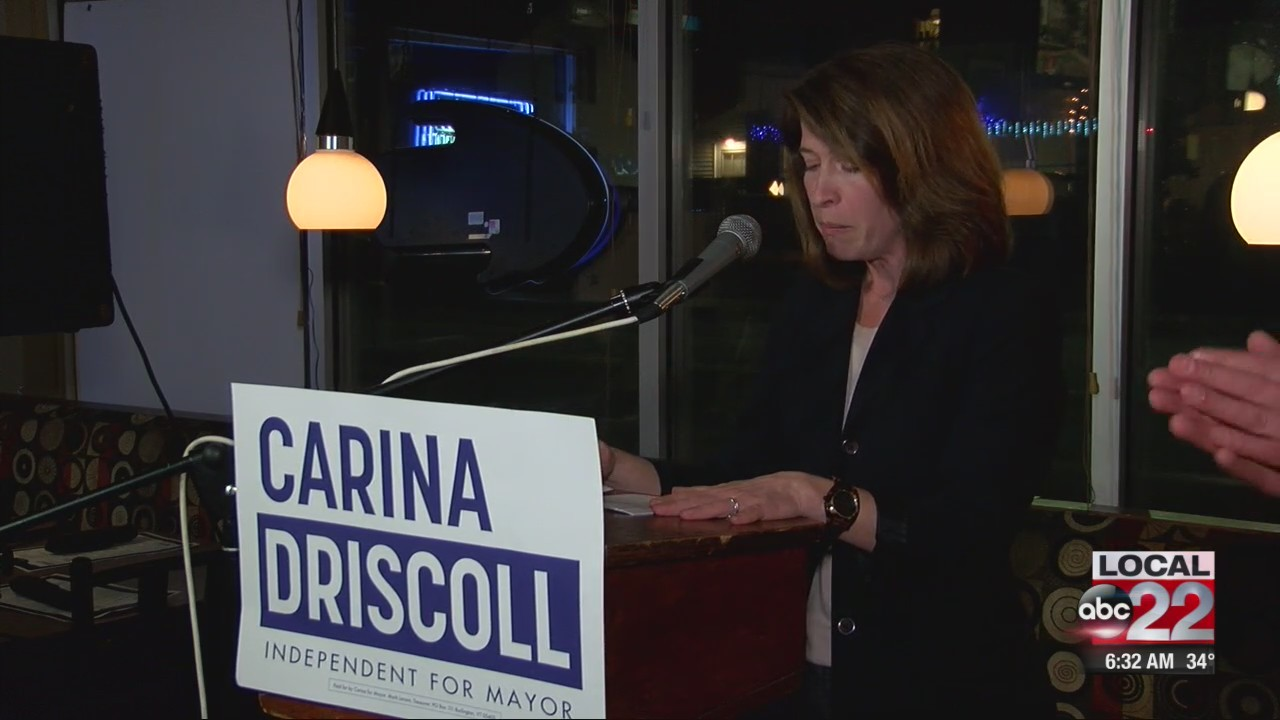 Carina Driscoll reacts to Burlington Mayoral Election