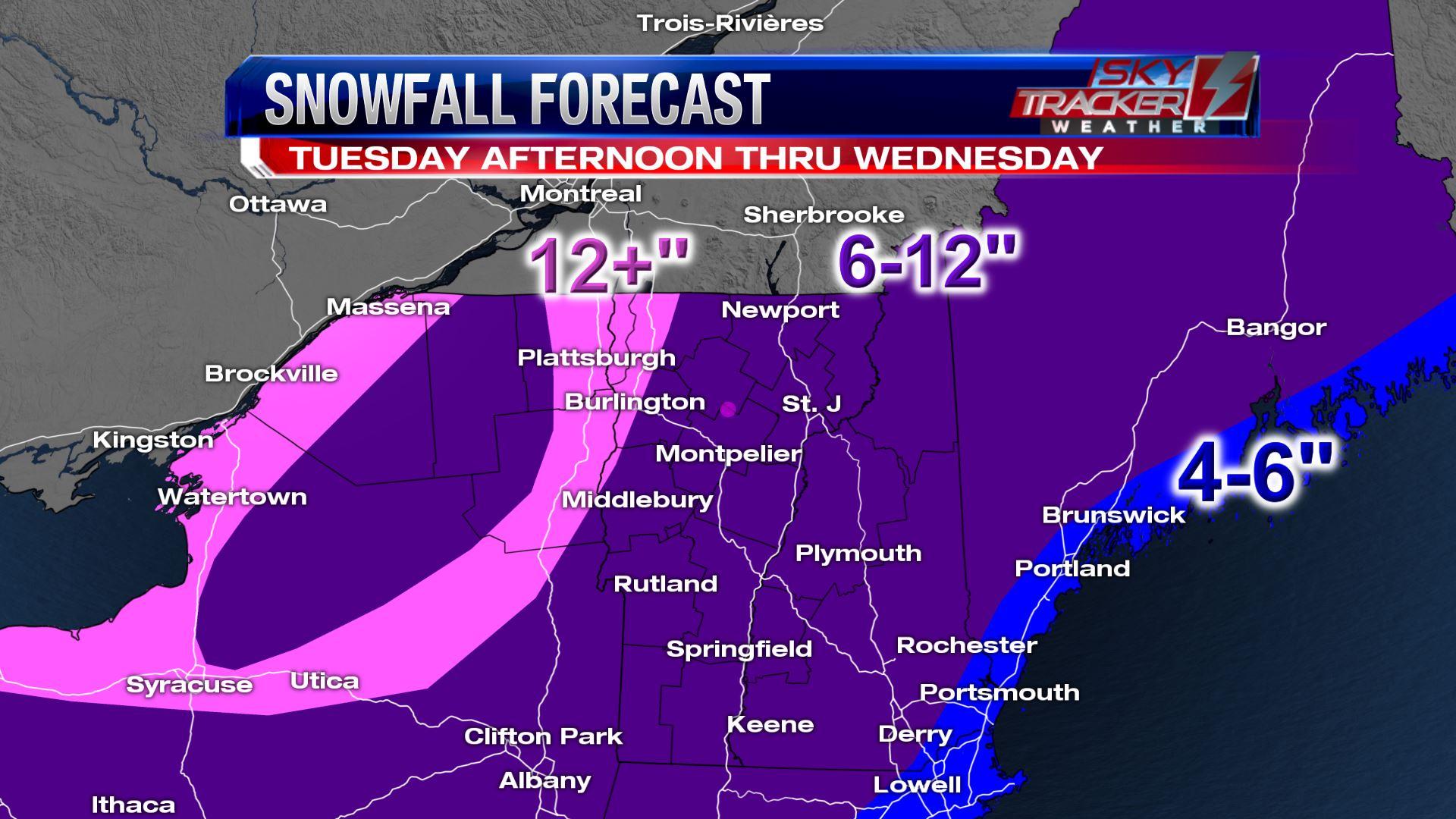 Forecast Snowfall through Wednesday