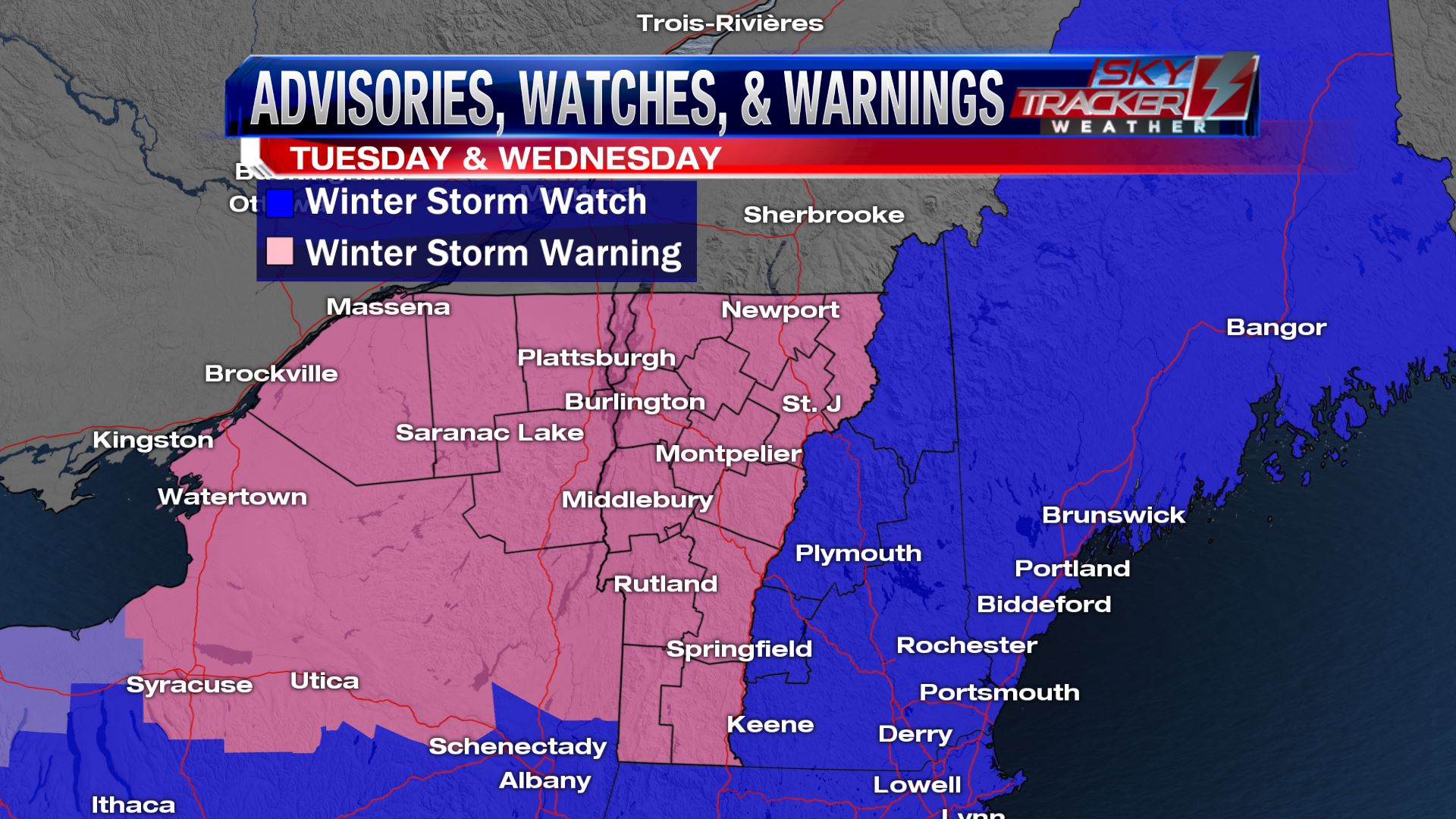 Winter Storm Warning Tuesday Afternoon to Wednesday