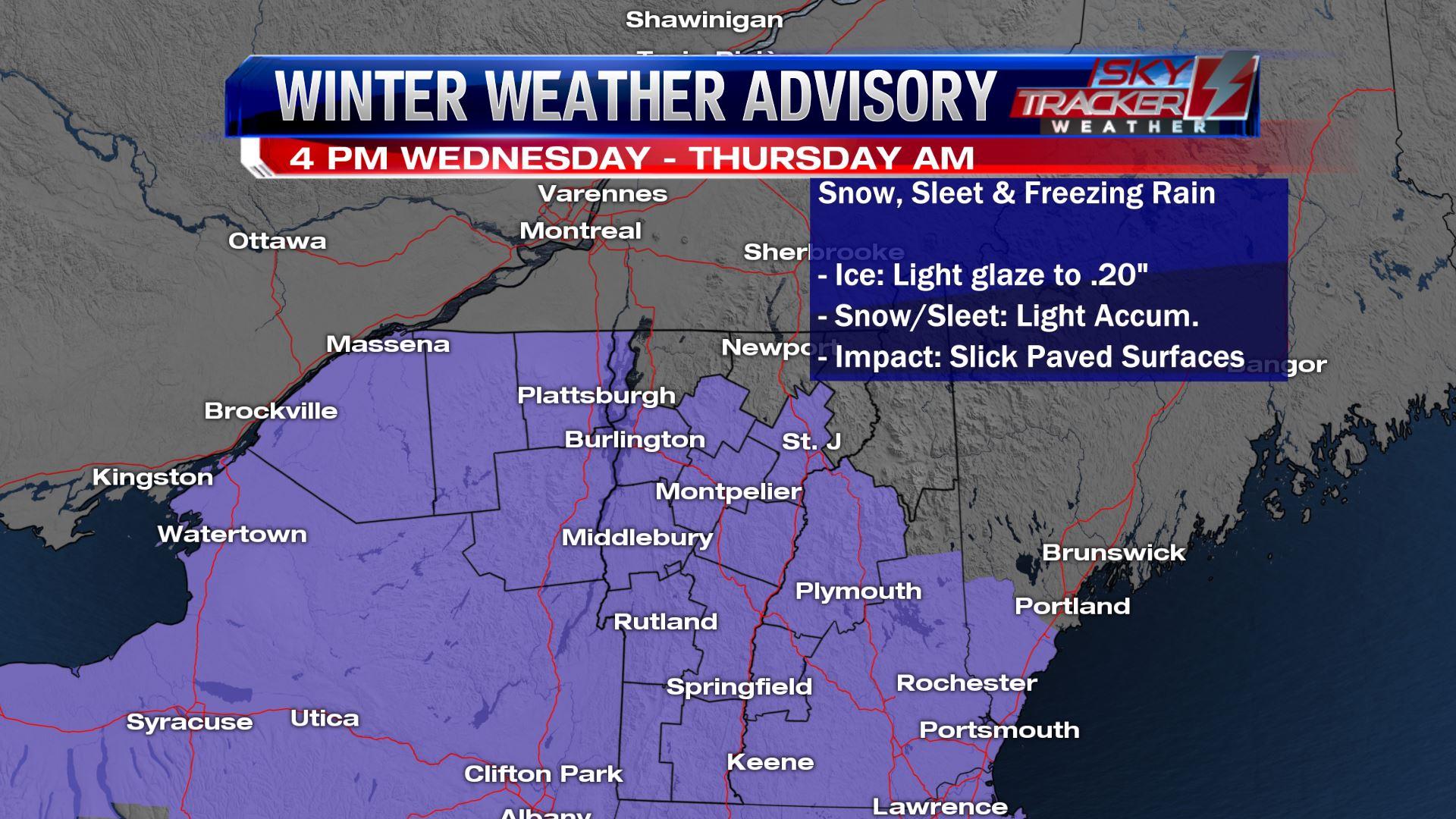 Wednesday February 6th Winter Weather Advisory