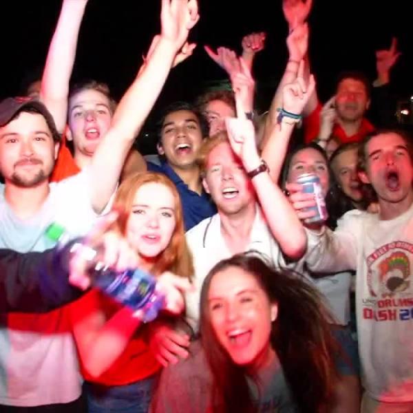 Fans celebrate in street